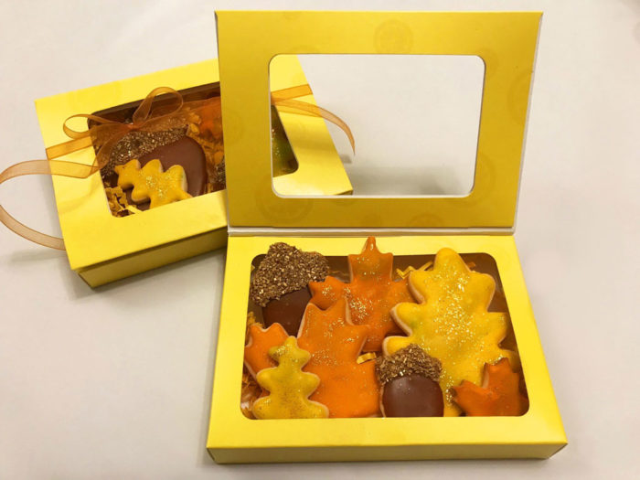 Fall Leaves yellow box cookies