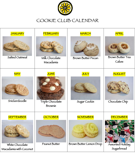 Cookie Club Calendar with pictures of cookies for each month